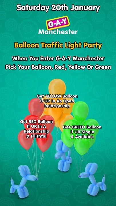 G A Y Manchester Balloon Traffic Light Party Event Image