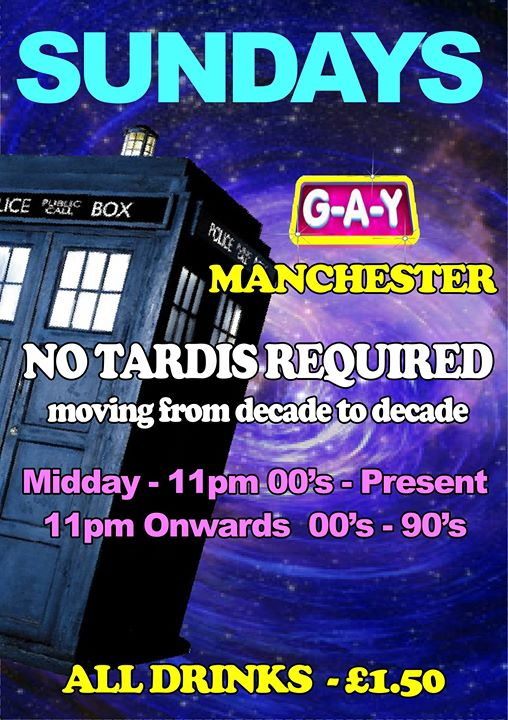 No Tardis Required, Sunday At G A Y Manchester Image